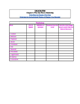 Call of the Wild: Chapter 4 Graphic Organizer Worksheet by A Plus ...