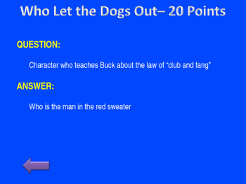 Call of the Wild Jeopardy Review Game
