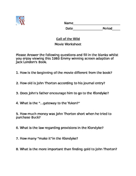 Call of the Wild Movie Worksheet