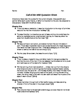 Call of the Wild Quotation Sheet