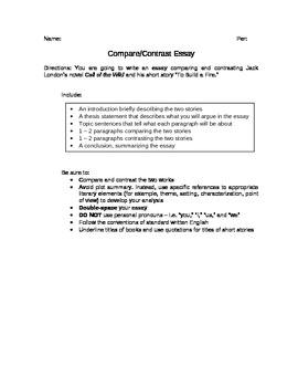 call of the wild to build a fire compare contrast essay by  call of the wild to build a fire compare contrast essay
