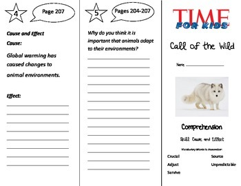 Call of the Wild Trifold - Treasures 3rd Grade Unit 5 Week 3
