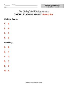 Call of the Wild Vocabulary Quiz Ch. 5-7