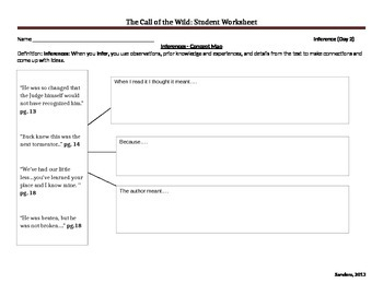 Call of the Wild (adapted version) Student Worksheets