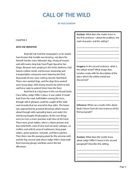 Call of the Wild by Jack London consumable learning  104 p