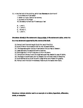 Call of the Wild chapters 1-4 skills and comprehension assessment.