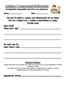 Call out/ Distraction Form Spanish/ English
