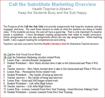 Call the Substitute Health Unit -- All Lessons Bundle
