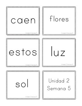 Calle de Lectura (Reading Street) Unit 2 Flashcards