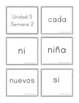 Calle de Lectura (Reading Street) Unit 5 Flashcards