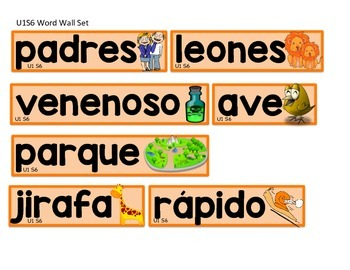 Calle de la lectura: Selected Word Wall Words Unit 1 Weeks 4, 5 and 6