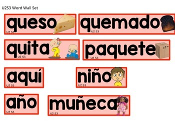 Calle de la lectura: Selected Word Wall Words Unit 2 Weeks 1, 2 and 3