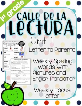Calle de la lectura| Unit 1| Eng. & Span.  Reading and Spelling Weekly Handouts