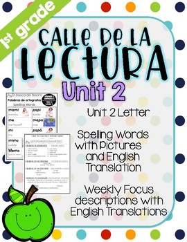 Calle de la lectura| Unit 2| Eng. & Span. Reading and Spelling Weekly Handouts