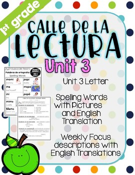 Calle de la lectura| Unit 3| Eng. & Span. Reading and Spelling Weekly Handouts