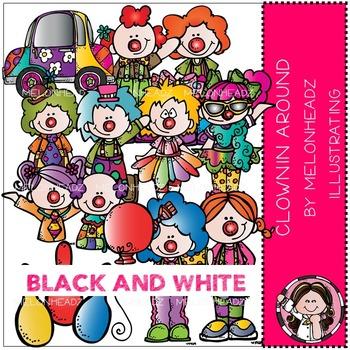 Melonheadz: Clownin Around clip art - BLACK AND WHITE