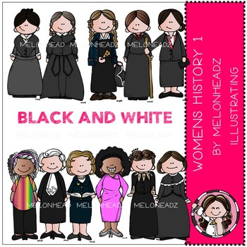 Melonheadz:  Women in History clip art Part 1 - BLACK AND WHITE