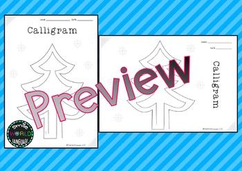 Calligram Christmas Writing Creative Caligrama Escritura Bilingual Navidad Tree