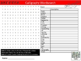 Calligraphy Wordsearch Sheet Starter Activity Keywords Art Writing