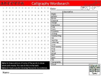 Calligraphy Wordsearch Sheet Starter Activity Keywords Art Writing