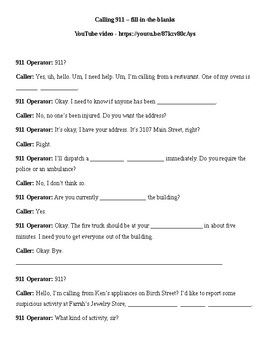 Calling 911 - guided viewing worksheet