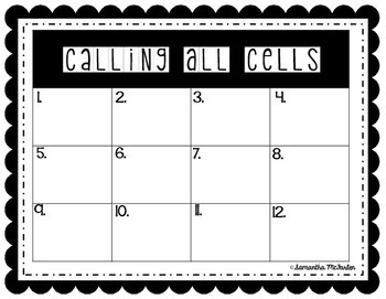 Calling All Cells Center Cards or Partner Scoot