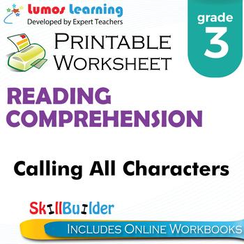 Calling All Characters Printable Worksheet, Grade 3