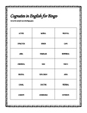 Calling Cards for English Bingo with Cognates