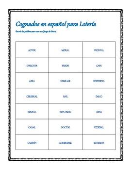 Calling Cards for Spanish/English cognate Bingo
