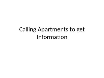 Calling a landlord about apartment/facility amenities  ppt