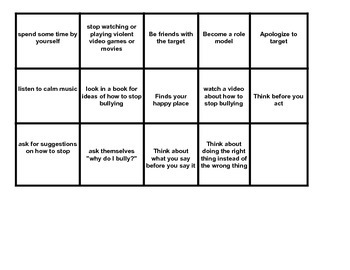 Calling cards for Bullies, Targets & Witnesses BINGO