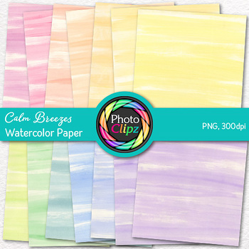 Calm Breezes Watercolor Digital Paper {Rainbow Backgrounds for Resources}