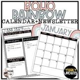 Calm Classroom Boho Rainbow Monthly Calendar and Newsletter Templates
