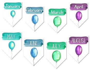 Calm & Cool Watercolor Birthday Chart