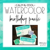 Calm & Cool Watercolor Birthday Pack