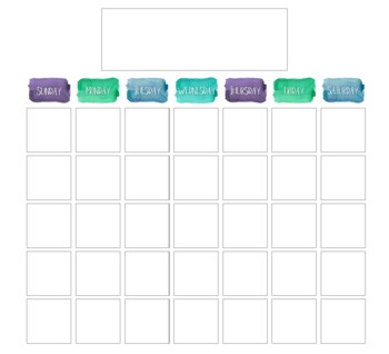 Calm & Cool Watercolor Classroom Calendar Set