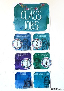 Calm & Cool Watercolor Classroom Job Chart