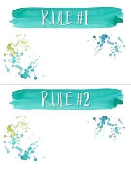 Calm & Cool Watercolor Classroom Rules {Editable}