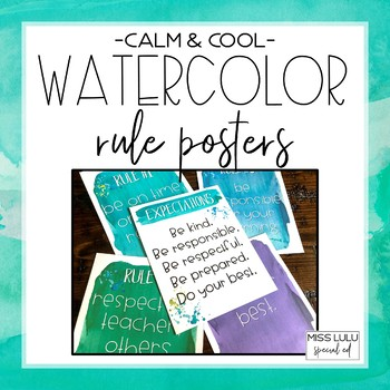 Calm & Cool Watercolor Classroom Rules {Editable}