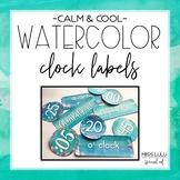 Calm & Cool Watercolor Clock Labels