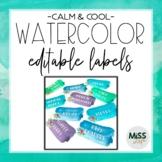 Calm & Cool Watercolor Labels {Editable}