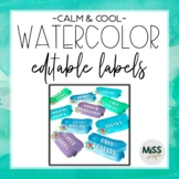 Calm & Cool Watercolor Labels {Editable}