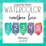 Calm & Cool Watercolor Number Line for Classroom Wall