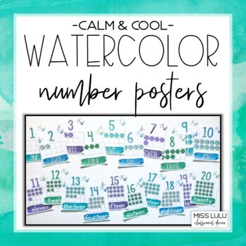 Calm & Cool Watercolor Number Posters