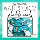 Calm & Cool Watercolor Schedule Cards {Editable}