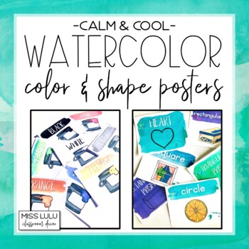 Calm & Cool Watercolor Shape and Color Posters