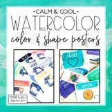 Calm & Cool Watercolor Shape and Color Posters (English & Spanish)