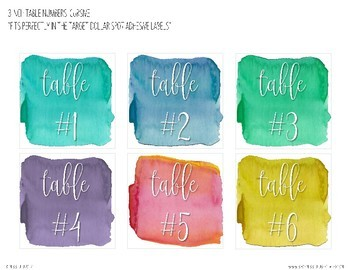 Calm & Cool Watercolor Table Numbers