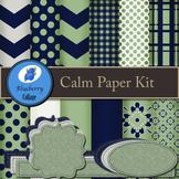 Calm Digital Paper Set - Navy & Sage
