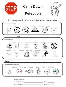 Calm Down Behavior Reflection Sheet